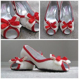 Shoes - NEW Custom Made White Lace Red Satin Kitten Heels
